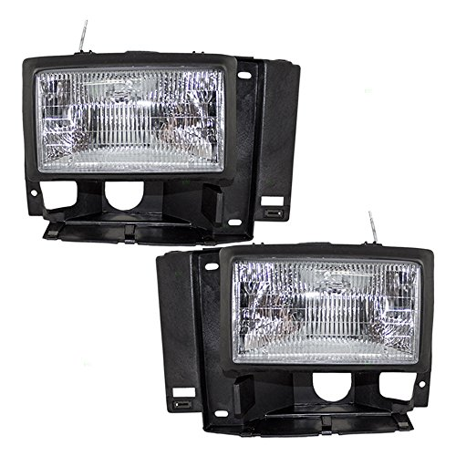 Headlights Headlamps Driver and Passenger Replacements for Ford Bronco II Explorer Ranger Pickup F1TZ13008D F1TZ13008C