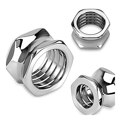 Inspiration Dezigns 316L Surgical Steel Hexagon Screw Bolt Hollow Saddle Plugs - Sold as Pairs (0G)