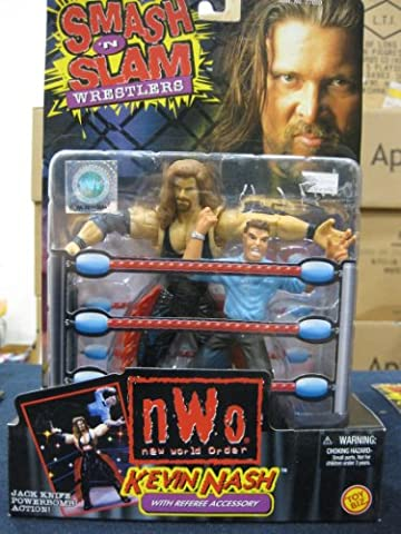 WCW Smash N Slam Wrestlers Kevin Nash with Referee Accessory distributed by Toy Biz 1999 (Wcw Smash N Slam)