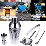 MOMA 5Pcs/set 550ml Stainless Steel Cocktail Shaker Cocktail Mixer with strainer lid and cap Cocktail Mixer Shaker For Party Bar Tool HIGHT QUALITY