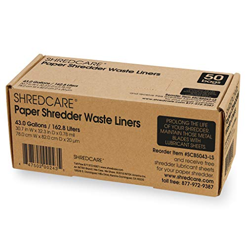 Shredcare 43 gal Office Waste Bin Trash Can Liner Shredder (SCB5043) (Pack of 50)
