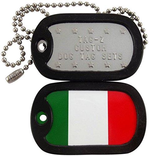 (Military Dog Tags - Custom Embossed Italian Flag Military Dog Tag Set)