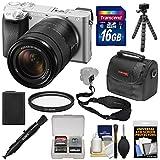 Sony Alpha A6300 4K Wi-Fi Digital Camera & 18-135mm Lens (Silver) With 16GB Card + Case + Tripod + Battery + Kit
