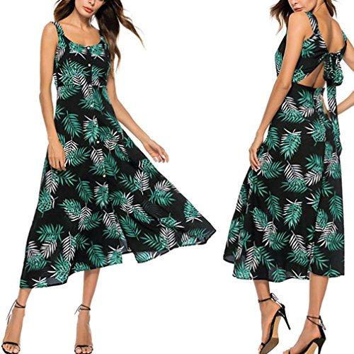 ec3ffdb641be8c ... VEMOW Sommer Elegante Damen Frauen Striped Lange Boho Kleid Dame Strand  Sommerkleid Casual Täglichen Party Strand ...