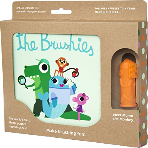 The Brushies baby and toddler toothbrush and storybook - Momo the Monkey!