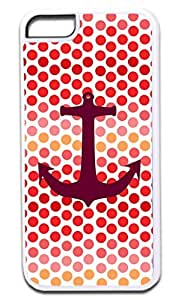 Anchor on Pink/Orange Polka Dots- Case for the APPLE IPHONE 6 ONLY!!!-NOT COMPATIBLE WITH THE REGULAR IPHONE 6!!!-Hard White Plastic Outer Case
