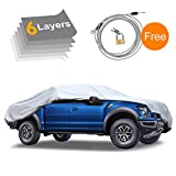 snow truck - KAKIT 6 Layers Truck Cover - Windproof Waterproof All Weather, for Snow Outdoor, UV Protection, Universal Fit Car Covers for Truck Pickup, Windproof Ribbon & Anti-theft Lock, Fits up to 242
