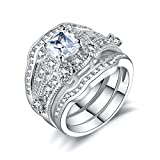 3pcs Wedding Ring Sets for Women White Gold Color