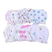 5 Pairs Newborn Baby Mitts Pastel Scratch Cotton Mittens 0-6 Months