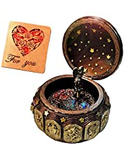 Amperer Vintage Music Box with 12 Constellations Rotating Goddess LED Lights Twinkling Resin Carved Mechanism Musical Box with Sankyo 18-Note Wind Up Signs of The Zodiac Birthday Christmas