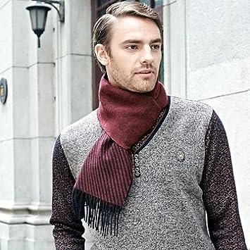 KYXXLD Winters M/änner Double Stripe Business Schal aus Reiner Wolle
