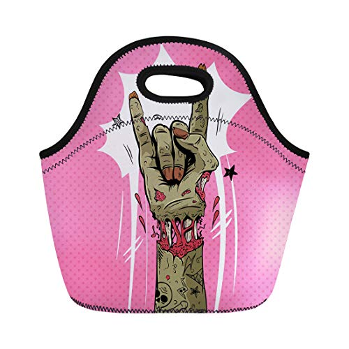 Semtomn Lunch Tote Bag Halloween Zombie Hand Shows Rock Gesture Punk Party Sketch Reusable Neoprene Insulated Thermal Outdoor Picnic Lunchbox for Men -