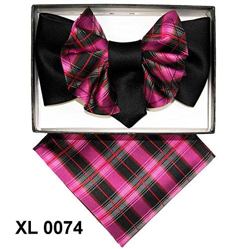 fuchsia-black-plaid-jumbo-pre-tied-bow-tie-pocket-square-hankie-set