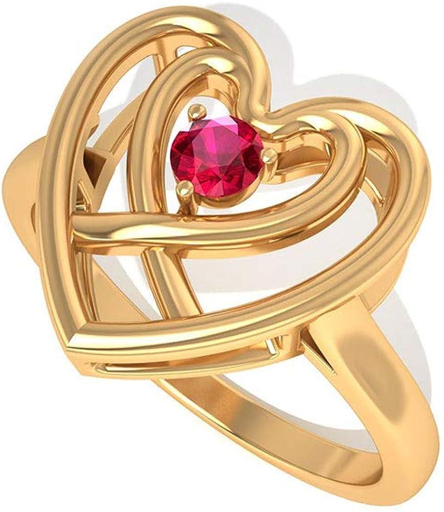 Anillo de compromiso con doble corazón certificado SGL de 0,15 ct, con piedras preciosas rojas mínimas, anillo de compromiso de boda, anillo de aniversario de piedra natal de julio
