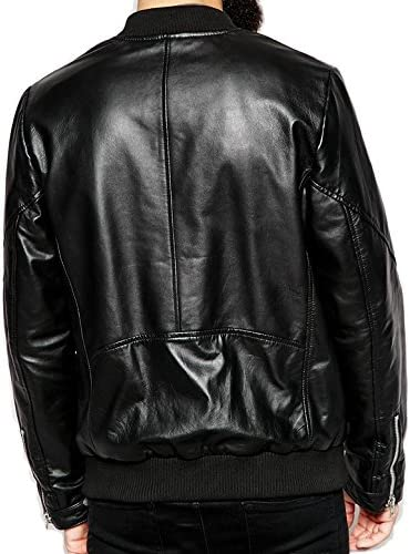 The Leather Apparel Store Mens Lambskin Bomber//Motorcycle Leather Jacket