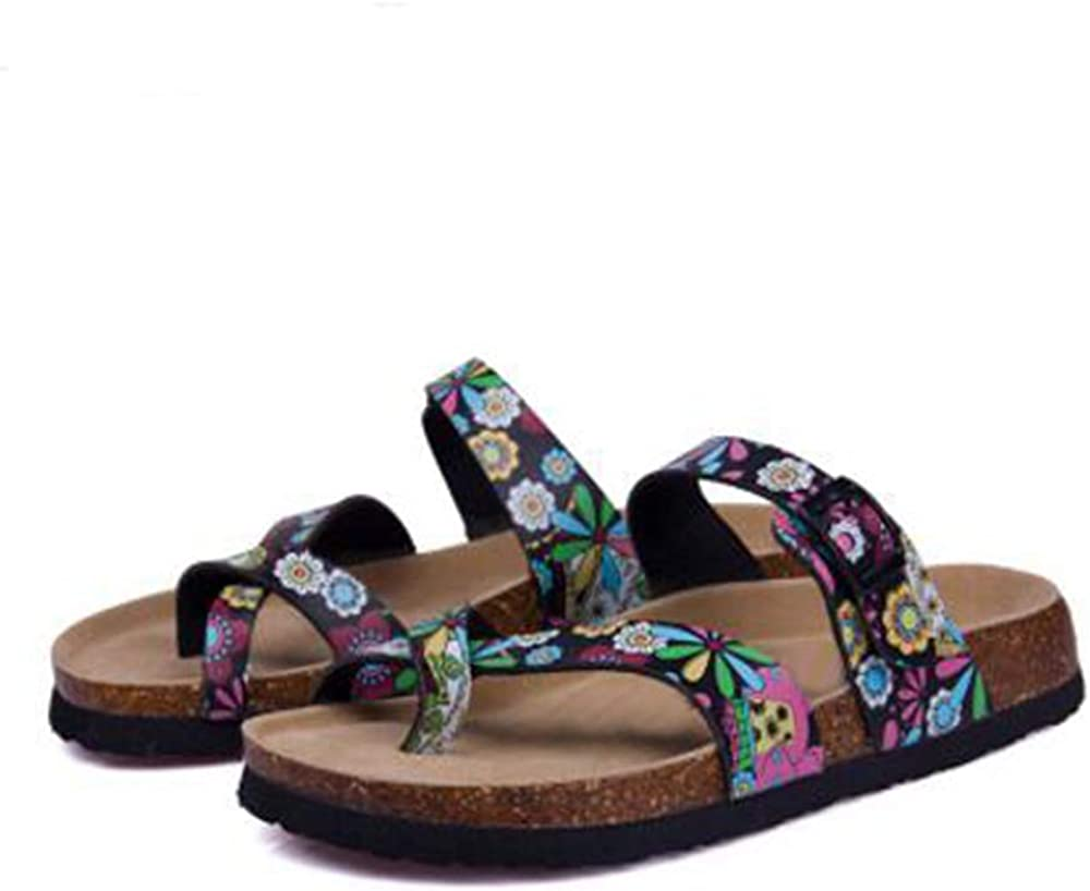 YaMiFan Womens Slide Flat Cork Sandals with Adjustable Strap Buckle Open Toe Slippers Suede Footbed