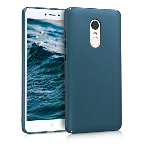 kwmobile Case for Xiaomi Redmi Note 4 / Note 4X - Hard Plastic Anti Slip Grip Shockproof Protective Phone Cover - Metallic Teal