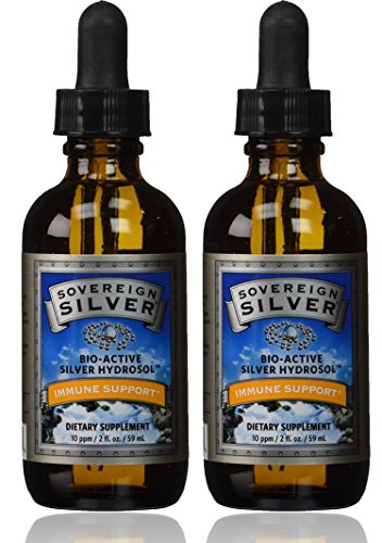 Natural Immunogenics Sovereign Bio-Active Hydrosol for Immune Support, 10 ppm, 2 oz (59ml) Dropper, Silver - (Pack of 2)