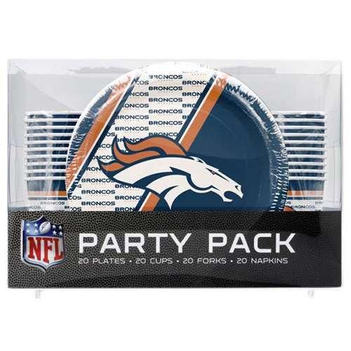 NFL Denver Broncos Disposable Party Pack (Plates, Cups, Forks, Napkins) ()