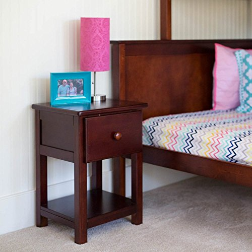 Max U0026 Lily Solid Wood 1 Drawer Night Stand, Cherry