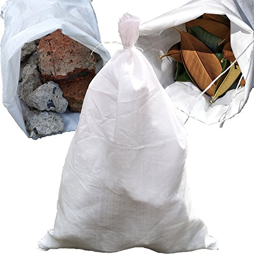 Shoutinn Versatile Polypropylene Woven Bags for Construction Rubble Sand Stone Garden Waste Corn Bean Feed,18 Gallon, Pack of 12PCS (White).