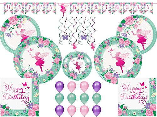 (Floral Fairy Sparkle Girls Birthday Party Supplies Tableware Kit and Decorations for 24 Guests (99 Pieces))