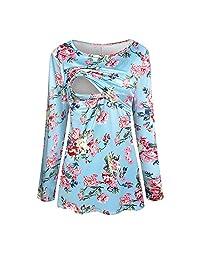 Matoen Pregnant Women Mom Nursing Wrinkle Long Sleeve Floral Tops T-Shirt