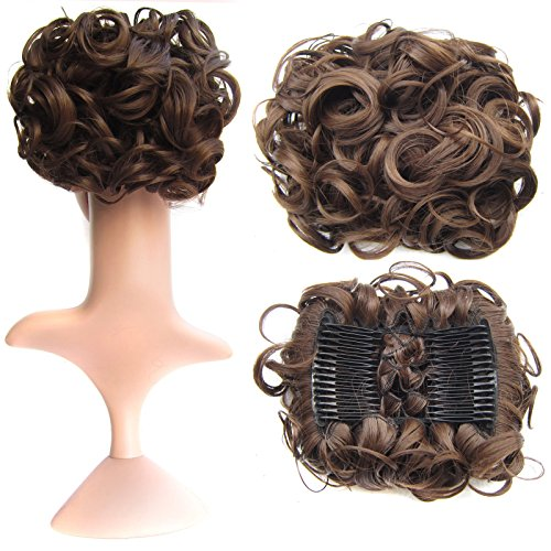 Bun Extension Hair - SWACC Short Messy Curly Dish Hair Bun Extension Easy Stretch hair Combs Clip in Ponytail Extension Scrunchie Chignon Tray Ponytail Hairpieces (Medium Ash Brown-8#)