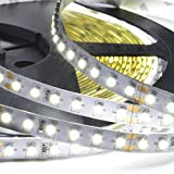 ABI Cool White Double Density 1200 LED Flexible Light Strip with AC Adapter, 120 LED / Meter, 10 Meters / 33 Feet, 24VDC