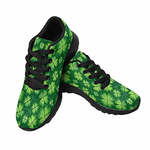 Interestprint Mujeres Jogging Running Sneaker Ligero Go Easy Walking Comodidad Deportes Zapatos Deportivos Dark Green Hand Drawing Clover Pattern