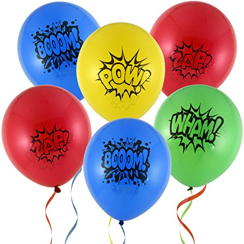 36 12 Superhero Balloons 4 Assorted Colors & Designs Red Blue Yellow & Green for Kids Birthday Party Favor Supplies Decorations by Gift Boutique