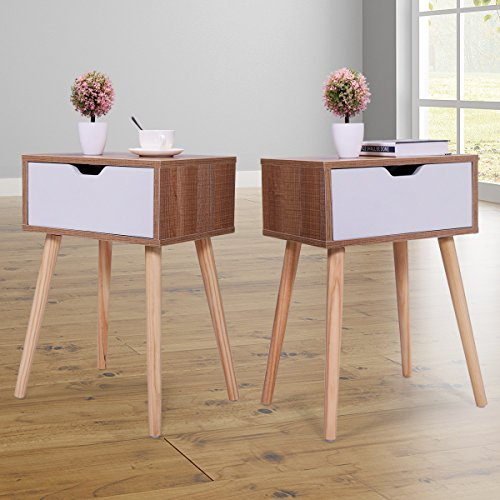 "Tobbi Set of 2 Wooden Accent End Table Bedroom Nightstand Wood Legs w/One drawer 23.1"" H Living Room Furniture"