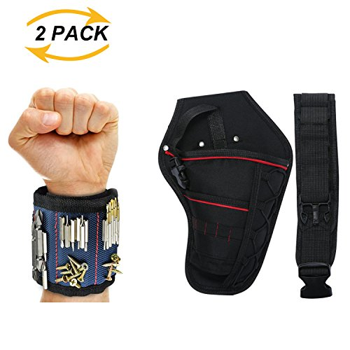 COPU Magnetic Wristband and Drill Holster Kit, Adjustable Waist Belt, Third Helping Hand for Carpenter, DIY'er, Handyman, Mechanic by COPU