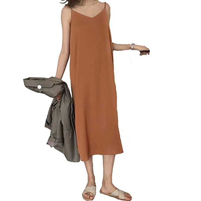 ac324708886d YAHUA Sexy Women Maxi Dress Loose Sleeveless Dresses V-Neck Sling Long  Party Dress (Brown