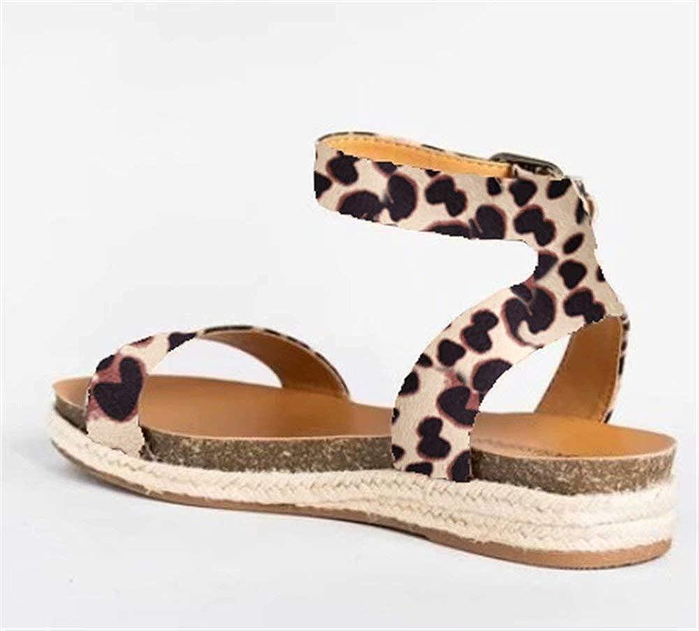 Sandalen Damen Plateau Sommer Flache Sandaletten Keilabsatz Espadrille 3 cm Absatz Peep Toe Leder Kn/öchel Strand Sommerschuhe Bequeme Leopard 35