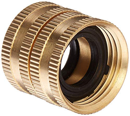 - Gilmour 2 Pack 7FHS7FH Brass Water Hose Connector | Double Female Thread with Swivel | 3/4 Inch x 3/4 Inch Garden Hose Adapter