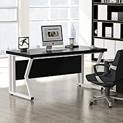 LITTLE TREE Computer Desk, 55'' Executive Office Desk with Heavy-Duty M-Shaped Frame for Home Office, File Cabinet Not Included (Black)