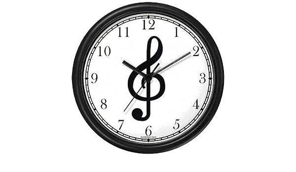 Agudos de clave de sol - Musical o música tema - Reloj de pared de relojes WatchBuddy (marco negro): Amazon.es: Hogar