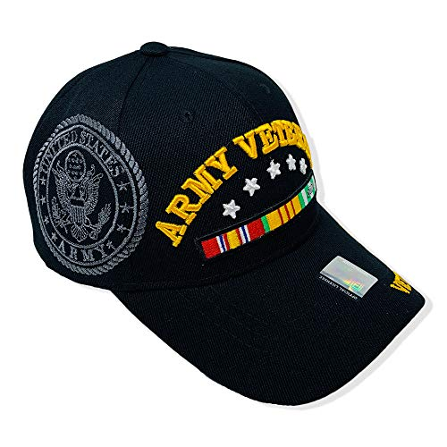 GREAT CAP Acrylic Military Hat - US Warriors Official Licensed Army Hat 3D Embroidered with Size Adjustable Hoop and Loop Closure for Men and Women - Army Veteran - 5 Stars - Vietnam Vet - Black