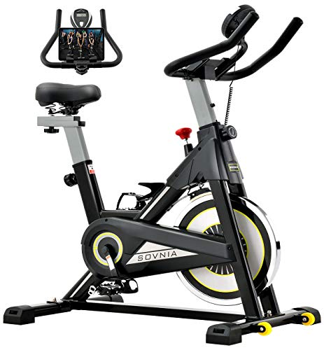 Exercise Bike, SOVNIA Stationary Bikes, Fitness Bike with iPad Holder, LCD Monitor and Comfortable Seat Cushion, Whisper…