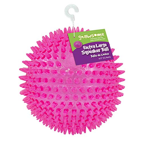 "Gnawsome 4.5"" Spiky Squeaker Ball Dog Toy – Extra Large, Cleans Teeth and Promotes Good Dental and Gum Health for Your…"