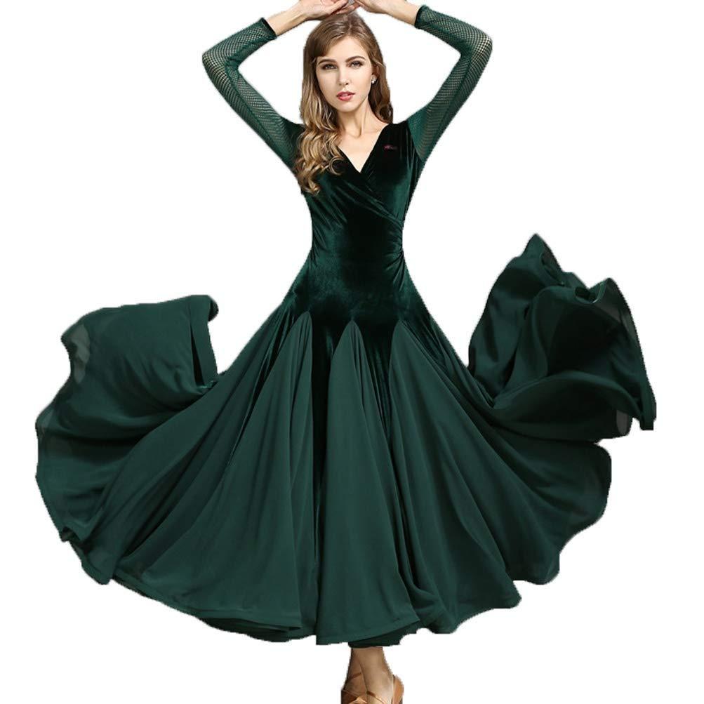 女の子ベルベット社交ドレスモダンなタンゴの民族衣装標準的なV襟長袖ダンスの練習/パフォーマンスの服 B07QSQTXXN グリーン Xl xl