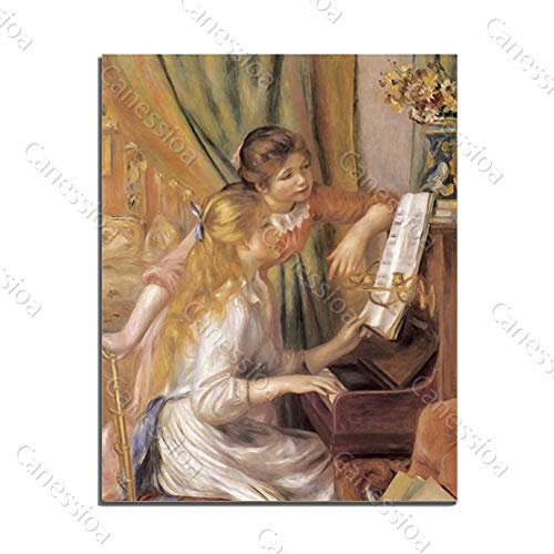 Canessioa Wall Art Canvas Two European Girl Playing Piano Oil Painting Artwork Home Decor Wall Decoration for Bedroom Bathroom Living Room Kitchen Hallway Office Corridor Staircase(20x28inch Unframed)