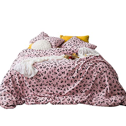 Pink Leopard Bedding - YuHeGuoJi 3 Pieces Duvet Cover Set 100% Cotton Queen Size Pink Leopard Pattern Bedding Set 1 Wild Animal Print Duvet Cover with Zipper Ties 2 Pillowcases Hotel Quality Soft Breathable Easy Care
