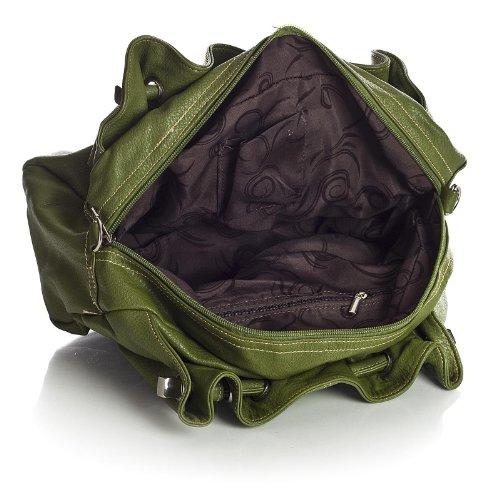 BHBS Damen Mittlerer Größe Mehrere Schulter Tasche Mit Reißverschluss 40 x 26 x 13 cm (B x H x T) Lime Green