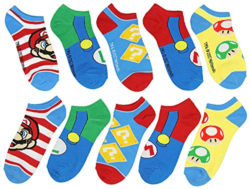 Super Mario Unisex Game Inspired 5 Pair Mix and Match Ankle - Socks Mario