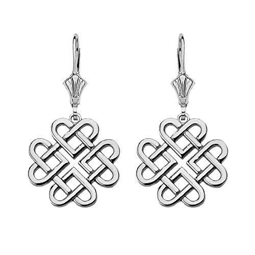 Women's Sterling Silver Endless Celtic Knot Heart Infinity Dangle Earrings