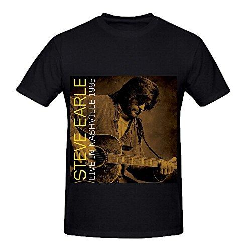 Steve Earle Live In Nashville 1995 Roll Mens O Neck Big Tall T Shirt Black