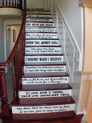Alice In Wonderland Story Book Quote Set Vinyl Stair or Wall Decals [BLACK] by GMDdecals 24