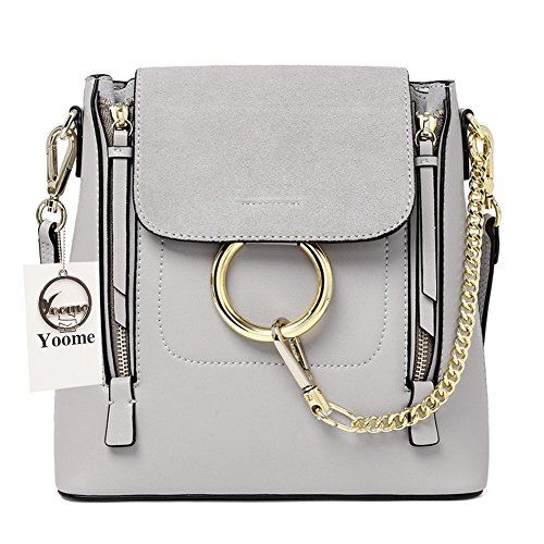 Yoome Casual Women's Retro Circular Ring Chain Bag Fashion Dull Polish Makeup Pouch For Girls (Grey(large+cowhide)) (Chloe Accessories)